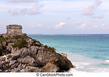 Mayan Tower above the Ocean at Tulum - Remains of a Mayan...