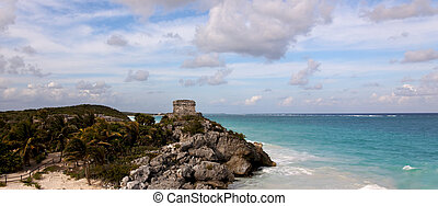 Panoramic View of Mayan Ruins above the Ocean - Panoramic...