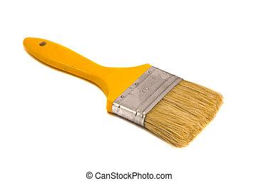 Brush 75mm wide yellow shaft paint isolated - Brush 75mm...