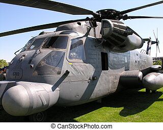 A military helicopter close-up on a military base