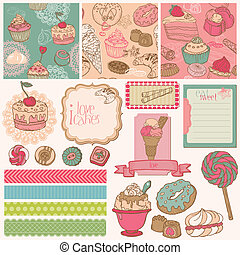 Scrap set with cakes and desserts - Seamless Background with...