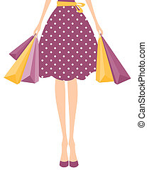 Shopping Girl - Illustration of a girl in cute polka dot...