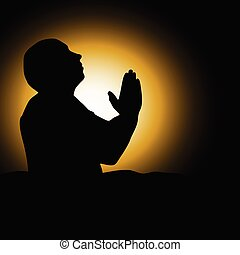 man praying black silhouette vector illustration - man...