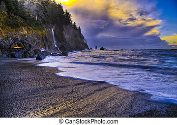 La Push Beach - Crashing waves amazing sunset sky at La Push...