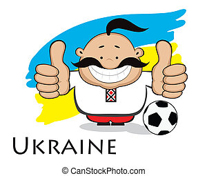 Ukrainian fan. Euro 2012 design - Smiling cartoon man...