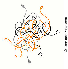 Cable mess - mess, cable, orange, grey, black, problem,...