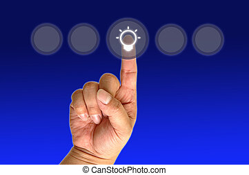 Hand pushing the button - hand pushing the button bulb with...
