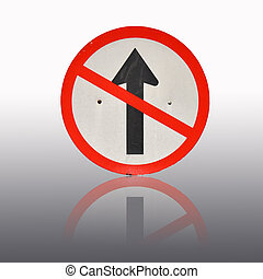 Direction traffic sign - Do not go straight direction...