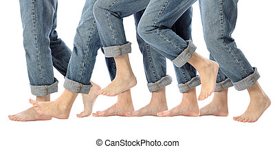 Barefoot Legs in Motion - A womans bare feet advance one...