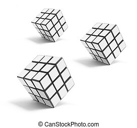 Puzzle Cubes on White Background