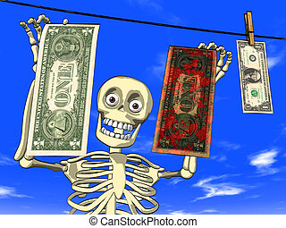 Dirty money - Illustration - cartoon of human body skeleton...