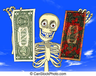 Dirty money and money laundering - cartoon of skeleton with...