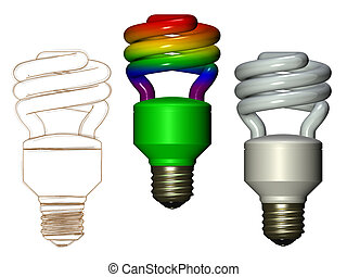 Compact fluorescent lamp - Illustration of rainbow white and...