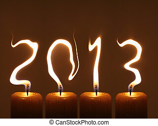 Happy new year 2013 - Modified photo of four candles. Flames...
