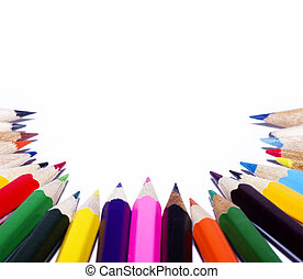 color pencils - many color pencils on white background