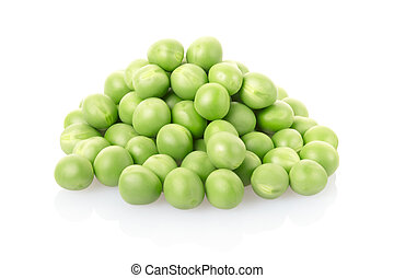 Green peas pile isolated on white, clipping path included