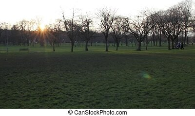 The Meadows park in Edinburgh. - Panoramic of the Meadows...