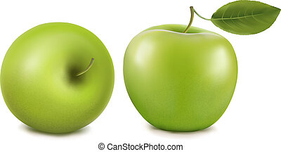 fresh green apples with green leafs