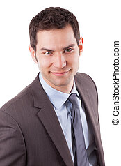 Portrait of a young caucasian business man,isolated on white...