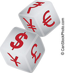 Symbol of financial exchange - Set of two gaming dice with...