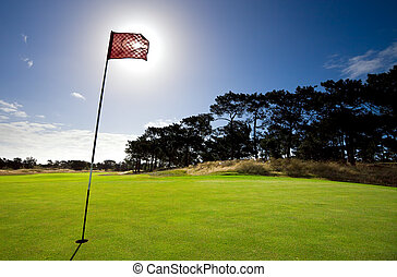 Get in the hole! - Sun shines behind a golf flag