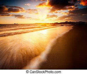 bonito, amanhecer, sobre, Australiano, praia