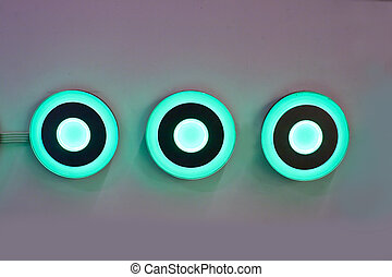 Modern light blue power on button