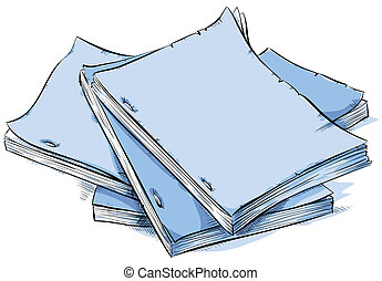 Scripts - A cartoon pile of blank scripts.