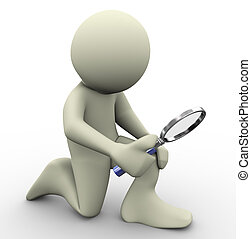3d man magnifying glass - 3d render of man with magnifying...