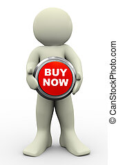 3d man buy now button - 3d render of man holding buy now...