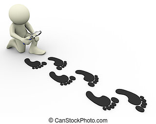 3d man tracing footprints - 3d render of man with magnifying...