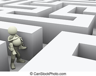 3d people in maze