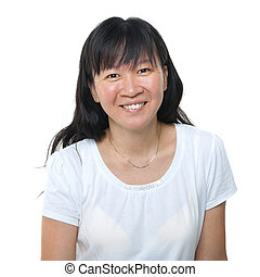 Asian woman - Happy 40s Asian woman on white background