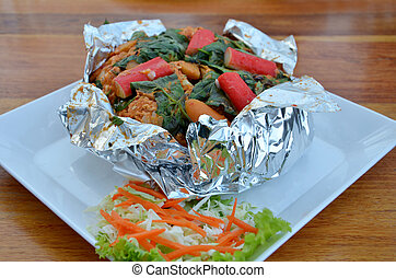 thai food - Ho Mok Thale is Thai food , curry seafood mixed...