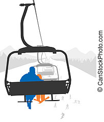 Ski lift - Silhouettes of adult and kid skier riding ski...