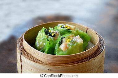 asian cuisine - spinach dumpling with shrimp , Asian food
