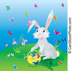 easter hare on the green grass under blue sky with eggs in...
