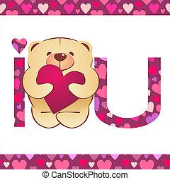 corazón, amor, teddy, texto, oso, vector, Plano de fondo,...