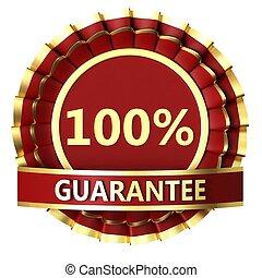 Ribbon award - Red ribbon award with label 100 guaranteed