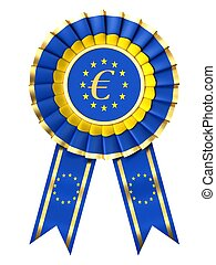 Ribbon award with euro sign isolated on white background