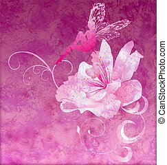 pink little flower fairy on the dark magenta spring or...