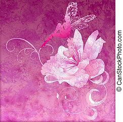 pink little flower fairy on the dark magenta spring or summer grunge background