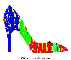 alto, calcanhar, sapato, venda, desenho