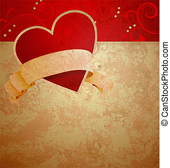 valentine's day or wedding vintage grunge paper background with red hearts