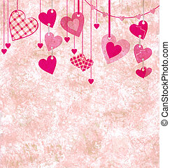 different pink hanging hearts on the grunge light paper...