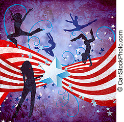 USA independence day dancing women grunge background with stars and stripes
