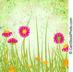 Red flowers meadow grunge green background
