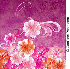 pink flowers on dark pink background grunge illustration