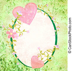 pink hearts love and romance oval grunge green frame with floral elements