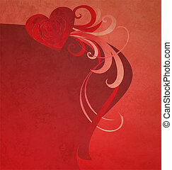 red heart with red rose grunge abstract background for love and wedding neeeds
